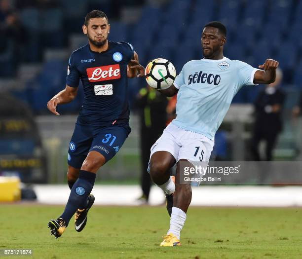 Faouzi Ghoulam of SSC Napoli and Bartolomeu Jacinto Quissanga Bastos of SS Lazio in action during the Serie A match between SS Lazio and SSC Napoli...