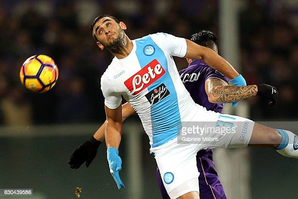 Faouzi Ghoulam of SSC Napoli in action during the Serie A match between ACF Fiorentina and SSC Napoli at Stadio Artemio Franchi on December 22 2016...