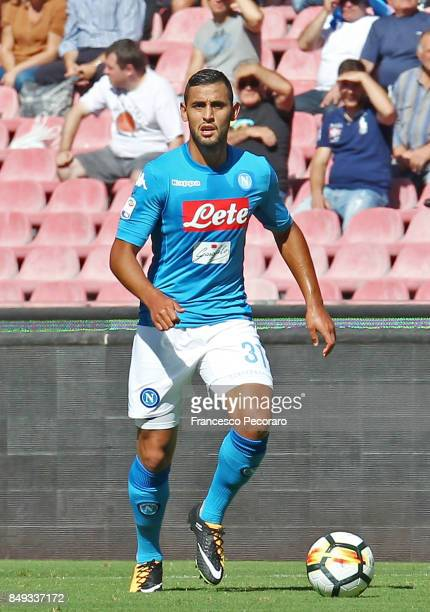 Faouzi Ghoulam of SSC Napoli in action during the Serie A match between SSC Napoli and Benevento Calcio at Stadio San Paolo on September 17 2017 in...