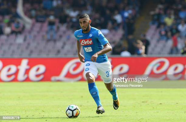 Faouzi Ghoulam of SSC Napoli in action during the Serie A match between SSC Napoli and Cagliari Calcio at Stadio San Paolo on October 1 2017 in...