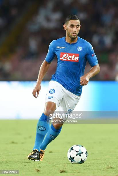 Faouzi Ghoulam of SSC Napoli in action during the UEFA Champions League Qualifying PlayOffs Round First Leg match between SSC Napoli and OGC Nice at...