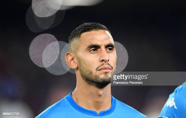 Faouzi Ghoulam of SSC Napoli line up before the UEFA Champions League group F match between SSC Napoli and Manchester City at Stadio San Paolo on...