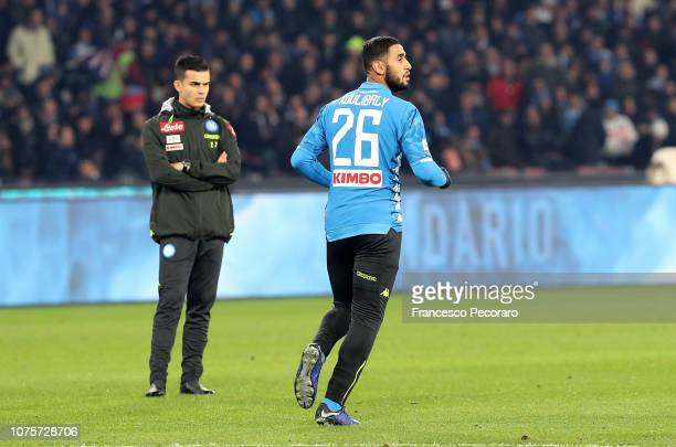Faouzi Ghoulam of SSC Napoli warms up wearing Kalidou Koulibaly jersey before the Serie A match between SSC Napoli and Bologna FC at Stadio San Paolo...