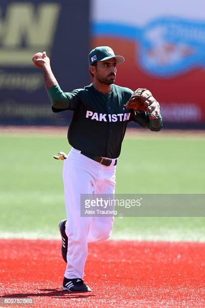 Faquir Hussain of Team Pakistan throws to first base during Game 1 of the 2016 World Baseball Classic Qualifier at MCU Park on Thursday September 22...