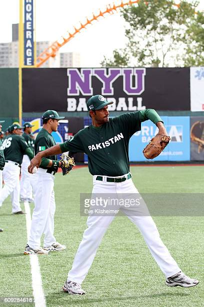 Faquir Hussain throws during the workout for the 2016 World Baseball Classic Qualifier at MCU Park on Tuesday September 20 2016 in the Brooklyn...