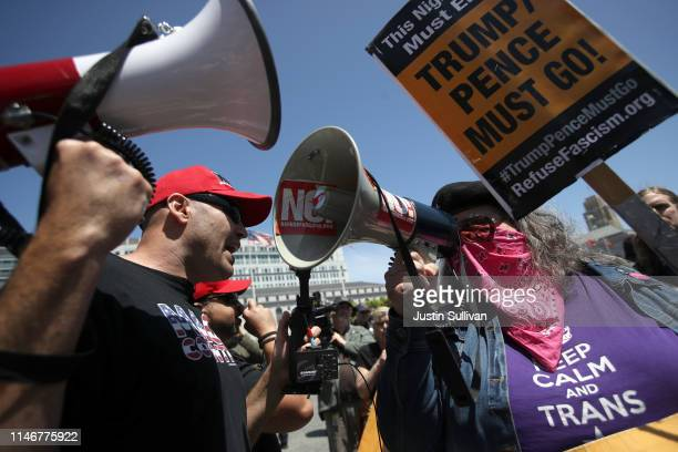 Far right activists square off with antifascist protesters during a freedom of speech rally in front of City Hall on May 03 2019 in San Francisco...