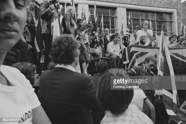 Far Right and fascist political party National Front supporters at a meeting UK 25th September 1978