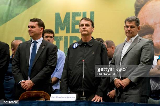 Far right Brazilian election candidate Jair Bolsonaro holds a press conference after several weeks in hospital at the Windsor Hotel Barra on 11th...