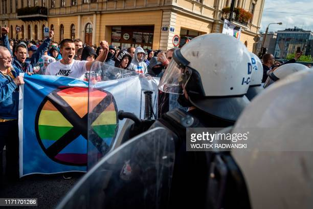Far right extremists clash with riot police as they try to disrupt the Gay Pride parade in Lublin eastern Poland on September 28 2019