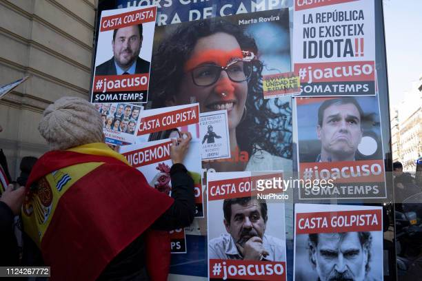 Far right group protesting near Supreme Court as trial of proindependence Catalan leaders starts on February 12 2019 in Madrid Spain The trial of 12...