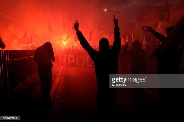 Far right nationalists march in the capital on November 11 2017 on Polish Independence Day An estimated 60 thousand people joined the traditional...