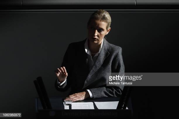 Far right Party AFD Leader Alice Weidel speaks after a government declaration at the Bundestag prior to today's summit of European leaders at the...