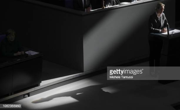 Far right Party AFD Leader Alice Weidel speaks as German Chancellor Angela Merkel listens after a government declaration at the Bundestag prior to...