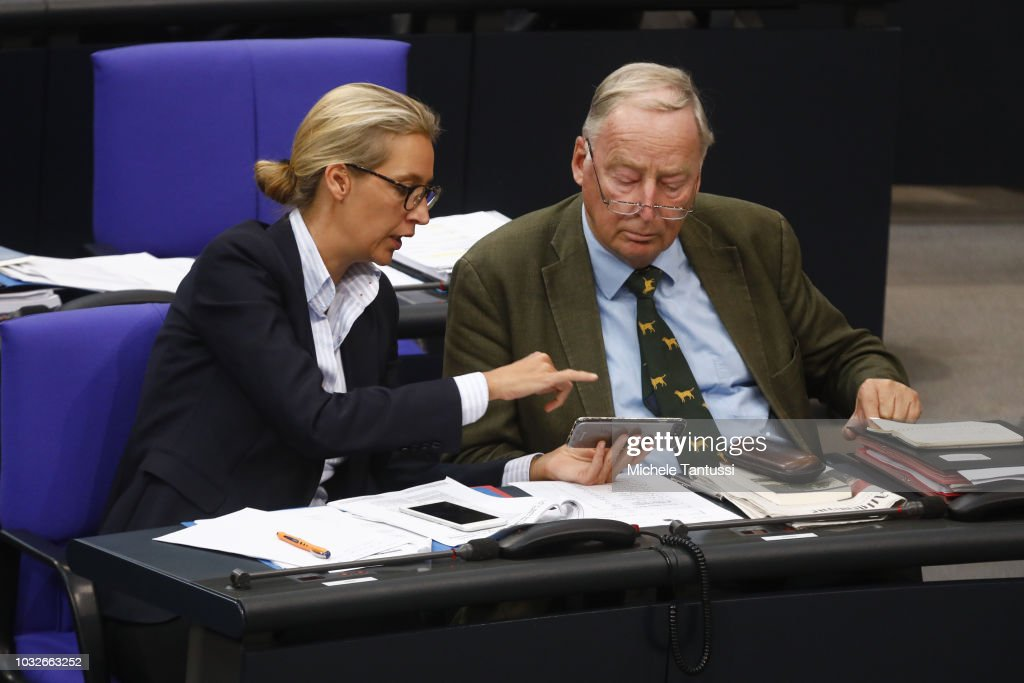 Far right Party AfD leaders Alexander Gauland and Alice Weidel attend a session of the German Parliament or Bundestag on September 13, 2018 in Berlin, Germany. Relations within the governing German coalition have once again become strained, this time due to comments made by German Interior Minister and Bavarian Christian Social Union leader Horst Seehofer following the recent murder of a German by refugees and the ensuing marches by right-wing supporters in the city of Chemnitz.