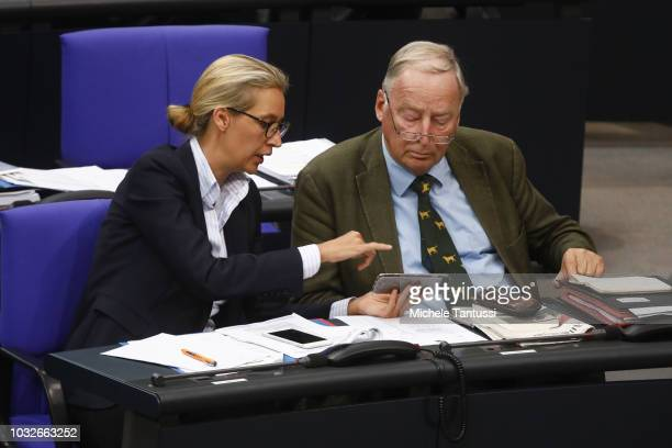 Far right Party AfD leaders Alexander Gauland and Alice Weidel attend a session of the German Parliament or Bundestag on September 13 2018 in Berlin...