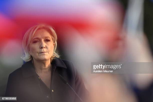MAY 04 Far right Presidential candidate Marine Le Pen addresses voters during a political meeting on May 4 2017 in Ennemain France Marine Le Pen...