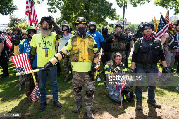Far right protesters march in Tom McCall Waterfront Park as part of the Patriot Prayer Rally The Proud Boys organized the Patriot Prayer Rally in...