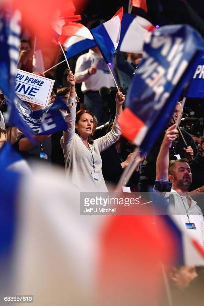 Far right supporters attend the launch of National Front Leader Marine Le Pen presidential campaign on February 5 2017 in Lyon France One of the most...