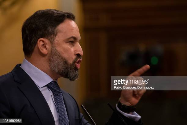 Far right wing Vox party leader Santiago Abascal speaks during a debate on a noconfidence motion at the Lower House of the Spanish Parliament on...