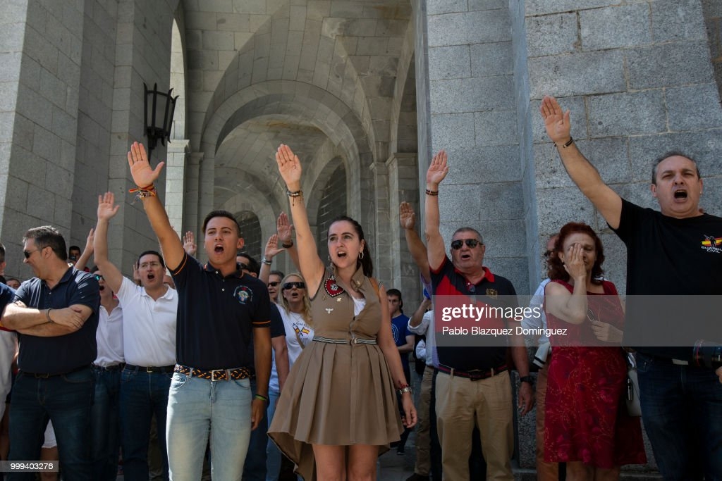 Spanish Far Right Supporters Gather Against The Removal of Franco's Remains From The Valley of Fallen : News Photo