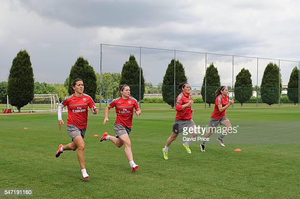 Fara Williams Emma Mitchell Natalia Pablos Sanchon and Vicky Losada of Arsenal Ladies during their training session on July 13 2016 in London Colney...