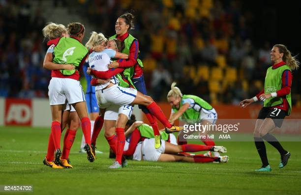 Fara Williams jumps up as the team celebrate the win after the UEFA Women's Euro 2017 match between England and France at Stadion De Adelaarshorst on...