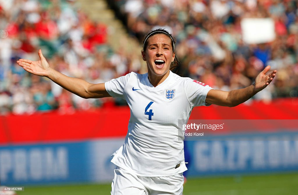 Fara Williams #4 of England celebrates her penalty kick goal during the FIFA Women's World Cup Canada Semi Final match between England and Japan at Commonwealth Stadium on July 1, 2015 in Edmonton, Alberta, Canada.