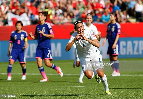 Fara Williams of England celebrates her penalty kick goal during the FIFA Women's World Cup Canada Semi Final match between England and Japan at...