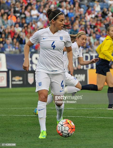 Fara Williams of England plays against Germany during the first half of a friend international match of the Shebelieves Cup at Nissan Stadium on...