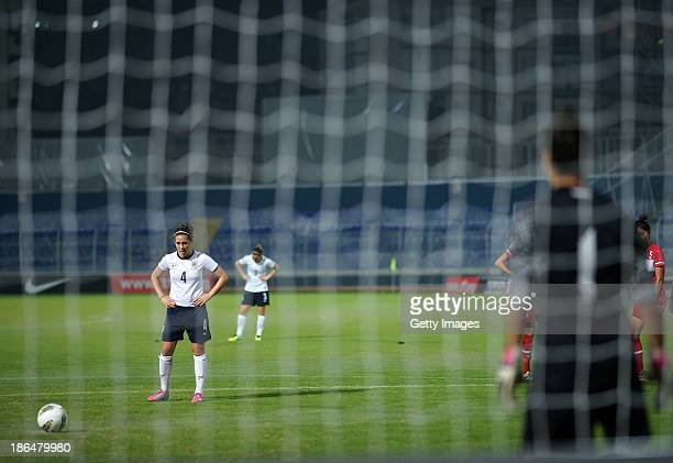 Fara Williams of England prepares to take a penalty kick before scoring during the FIFA Women's World Cup 2015 Group 6 Qualifier between Turkey and...