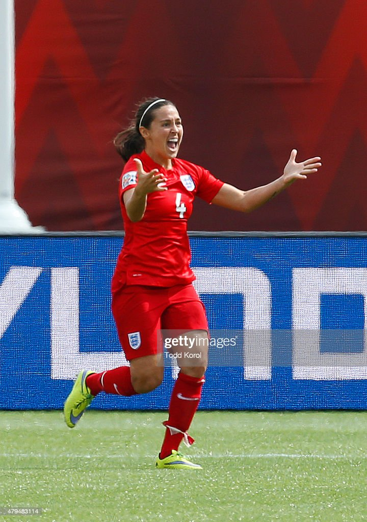 Fara Williams #4 of England reacts to scoring her goal during the FIFA Women's World Cup Canada 3rd Place Play-off match between England and Germany at Commonwealth Stadium on July 4, 2015 in Edmonton, Alberta, Canada.