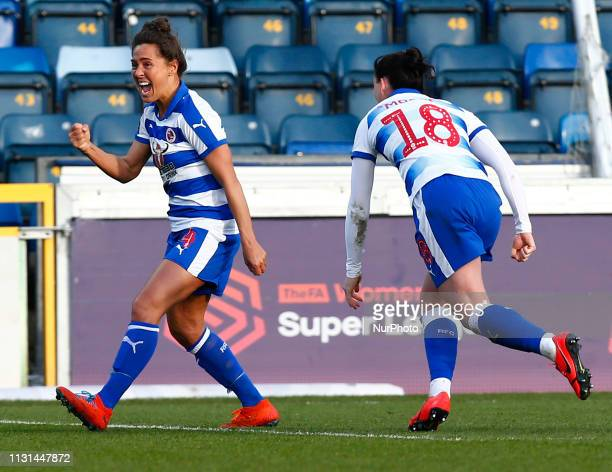 Fara Williams of Reading FC Women celebrate the winning goal scored by Lauren Bruton of Reading FC Women during The SSE Womens FA Cup Quarter Final...