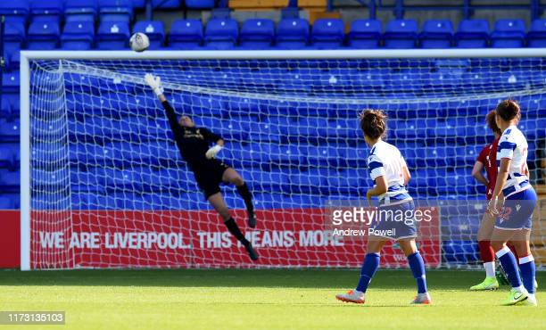 Fara Williams of Reading Women scoring the opening goal during the Women's Super League match between Liverpool Women and Reading Women at Prenton...