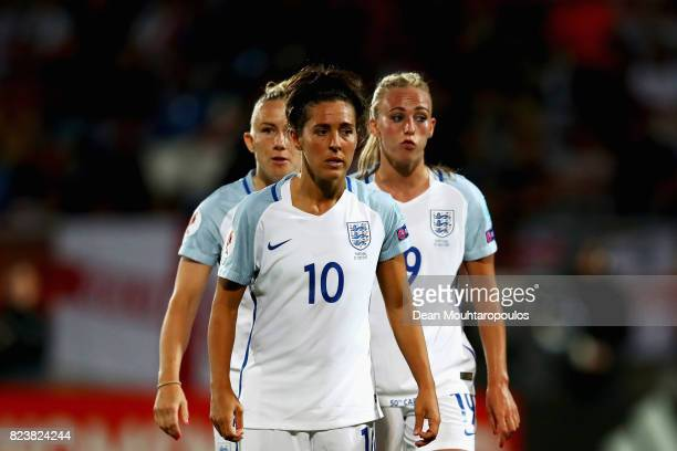 Fara Williams Toni Duggan and Laura Bassett of England get ready for a corner during the UEFA Women's Euro 2017 Group D match between Portugal and...