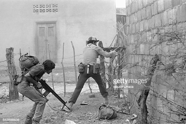 Farabundo Marti National Liberation Front guerrillas during an attack at Santa Rosa de Lima | Location Santa Rosa De Lima El Salvador