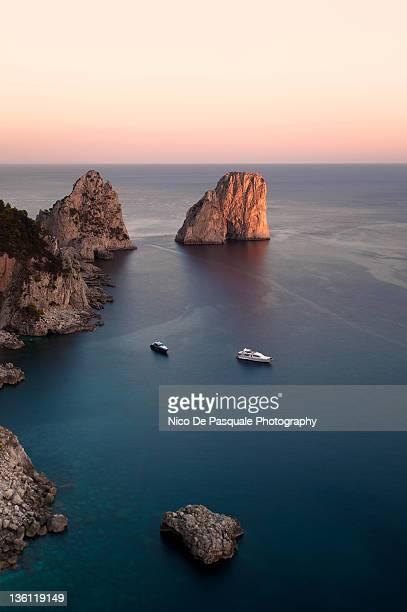 Faraglioni at sunset. Capri