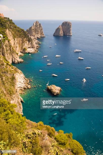 Faraglioni rocks and coastline, Capri, Italy