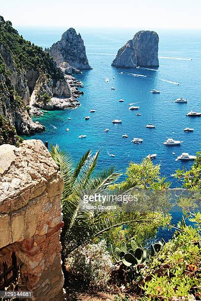 faraglioni rocks in capri island - capri stock pictures, royalty-free photos & images