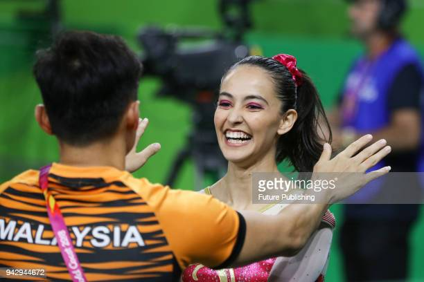 Farah Ann ABDUL HADI reacts after her performance in the Women's Individual AllAround Final Artistic Gymnastics on April 7 2018 in Gold Coast...