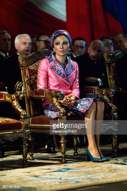 Farah Diba the Empress of Iran visits the Beaux Arts Academy and is welcomed by architect Eugene Baudoin She has been a foreign member of the...