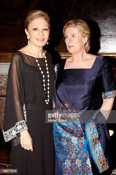 Farah Dibba and Lea Wolman wife of Prince Alexander of Belgium attend a gala hosted by Professor David Khayat to raise money for cancer organisation...