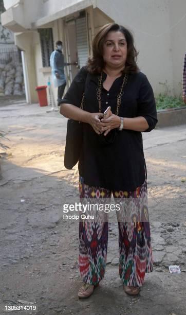 Farah Khan is seen outside a salon in Juhu on March 04, 2021 in Mumbai,India