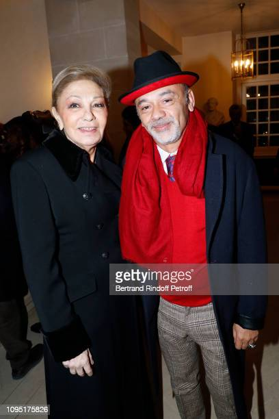 Farah Pahlavi and Christian Louboutin attend the 2018 Prize of the Stephane Bern Institut de France Foundation at Institut de France on January 16...