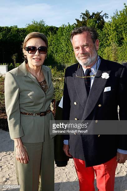HIH Farah Pahlavi and Creator of the Bosquet du Theatre d'eau Louis Benech attend the Inauguration of the Bosquet du Theatre d'eau of the Chateau de...