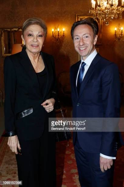 Farah Pahlavi and Founder Stephane Bern attend the 2018 Prize of the Stephane Bern Institut de France Foundation at Institut de France on January 16...