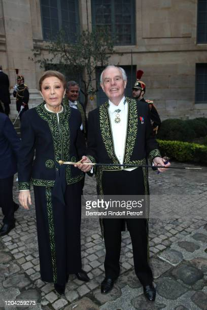 Farah Pahlavi and Frederic Mitterrand attend the Installation of Frederic Mitterrand at the Academie des BeauxArts Held at Academie des BeauxArts on...