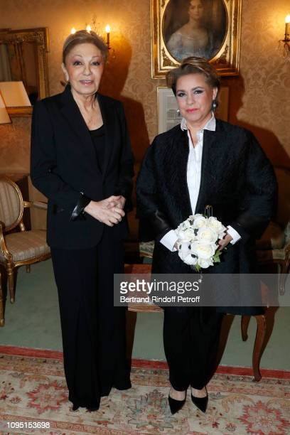 Farah Pahlavi and Grand Duchess Maria Theresa of Luxembourg attend the 2018 Prize of the Stephane Bern Institut de France Foundation at Institut de...