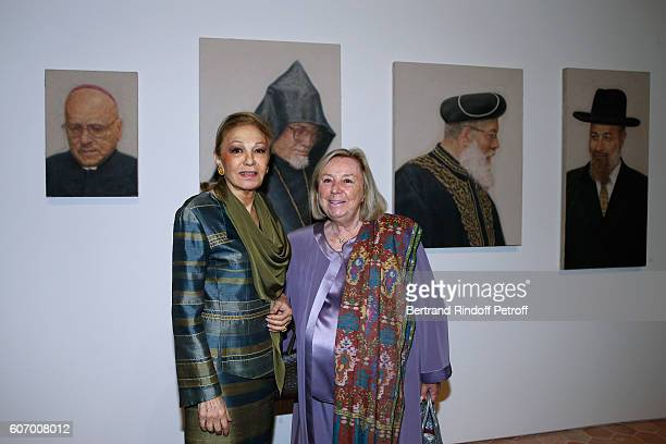 Farah Pahlavi and Maryvonne Pinault attend the 4O Rue de Sevres Preview at the Head Offices of Both Kering and Balenciaga building The site was the...