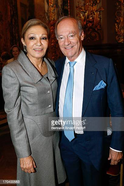 HME Farah Pahlavi and Prince Amyn Aga Khan attend 'World Monuments Fund Europe' private reception at the 'Foyer de l'Opera Comique' honoring the...