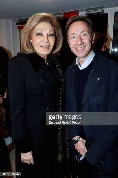 Farah Pahlavi and Stephane Bern attend the Bonsoir Theater Play at Theatre Marigny Studio on December 05 2018 in Paris France